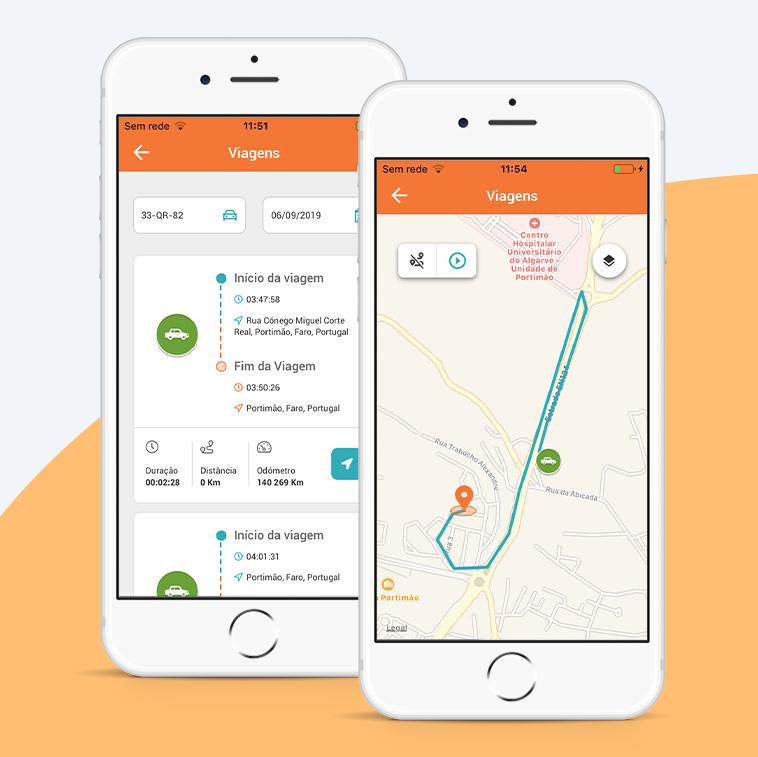 Consultar os percursos realizados na aplicação da Cartrack